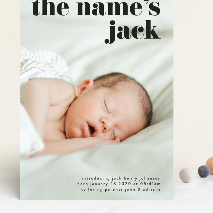 """the name"" - Grand Birth Announcements in Noir by Phrosne Ras."