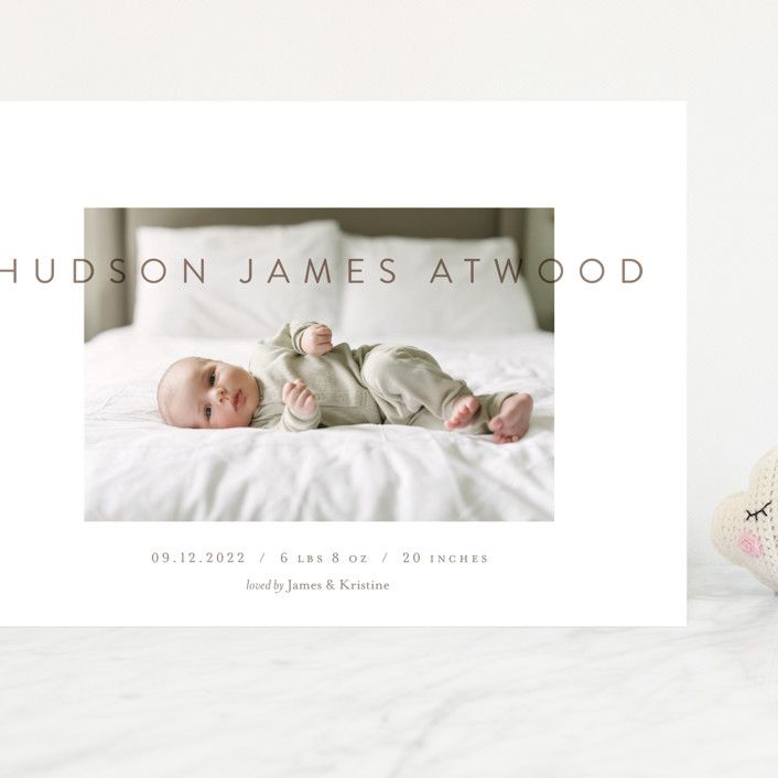 """""""The Hudson"""" - Grand Birth Announcements in Sandlewood by Eric Clegg."""