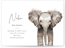This is a white grand birth announcement by Cass Loh called Baby Elephant with standard printing on signature in grand.