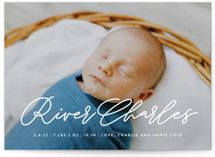 This is a white grand birth announcement by Lauren Chism called Swing with standard printing on smooth signature in grand.