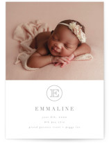 This is a grey grand birth announcement by AK Graphics called Sweet Monogram with standard printing on signature in grand.