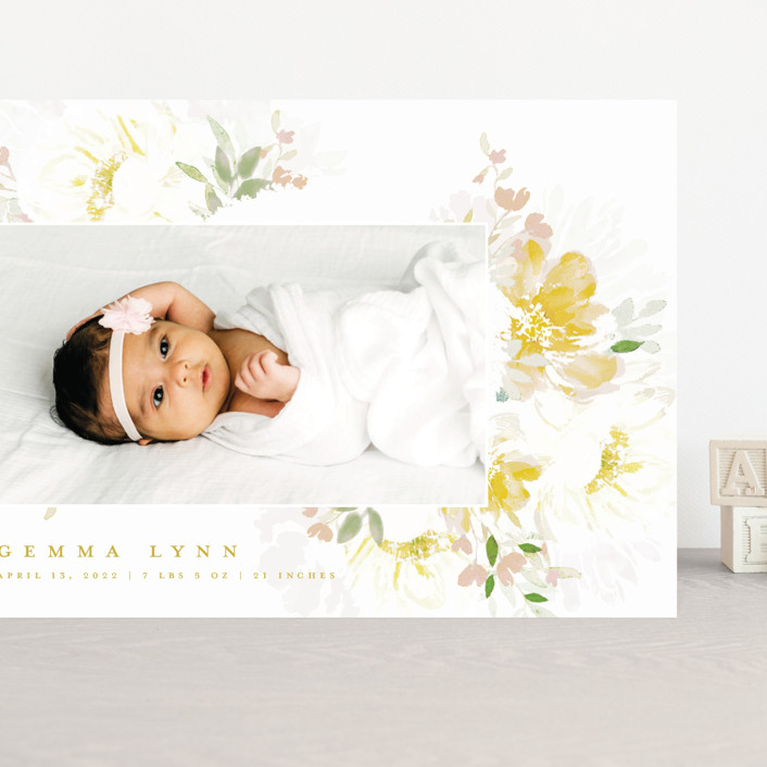 """""""Draping Blooms"""" - Grand Birth Announcements in Canary Yellow by Grace Kreinbrink."""