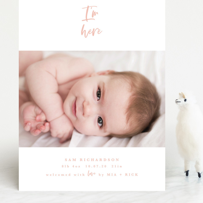 """I'm Here"" - Grand Birth Announcements in Peach by Kanika Mathur."