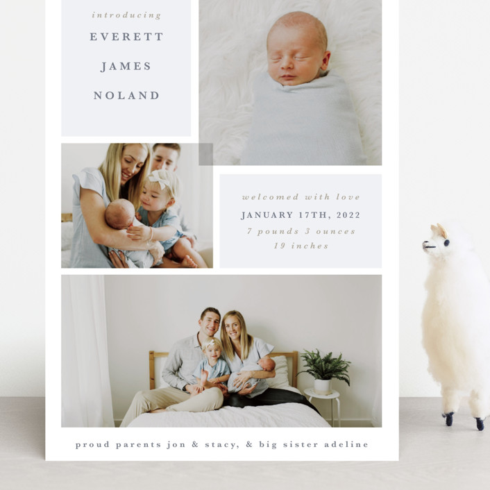 """Love Multiplies"" - Grand Birth Announcements in Dusty Blue by Julie Murray."