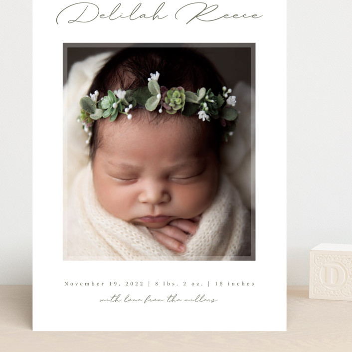 """""""Delilah"""" - Grand Birth Announcements in Sage by Kacey Kendrick Wagner."""