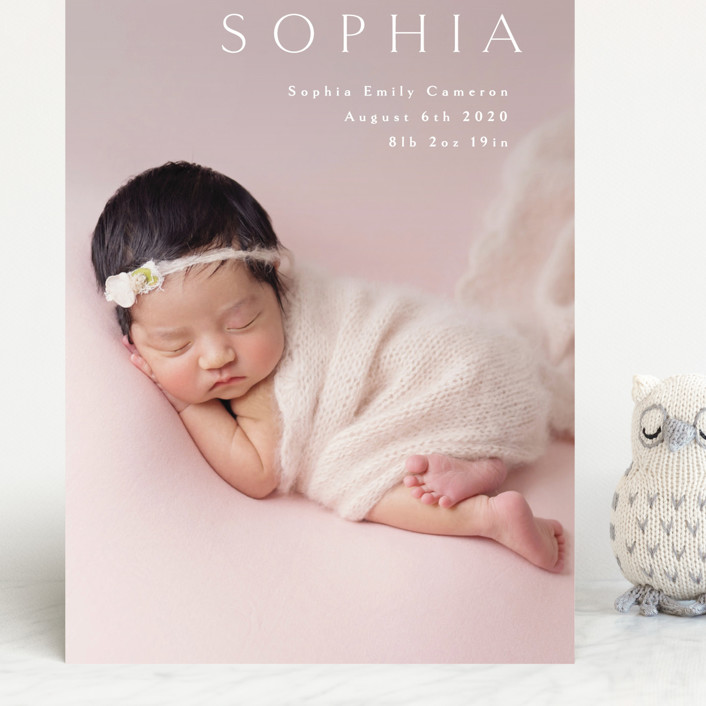 """Angel"" - Grand Birth Announcements in White by Phrosne Ras."