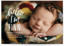 This is a white grand birth announcement by Jen Banks of Ink and Letter called Hello, It's Me with standard printing on smooth signature in grand.