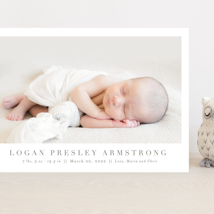 """""""Menil"""" - Grand Birth Announcements in Fawn by Toast & Laurel."""