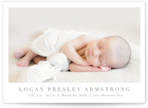 This is a brown grand birth announcement by Toast & Laurel called Menil with standard printing on smooth signature in grand.
