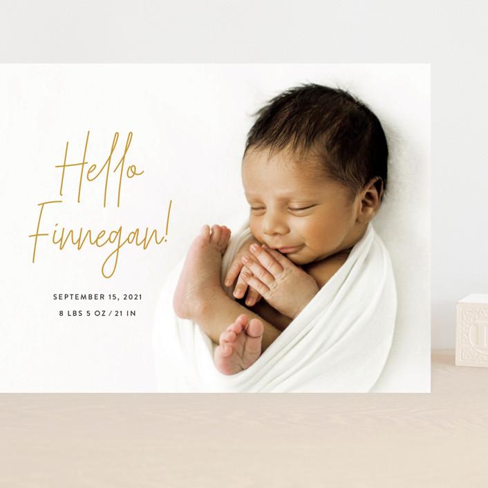 """Hello Everyone"" - Modern Grand Birth Announcements in Mustard by Ashley Rosenbaum."