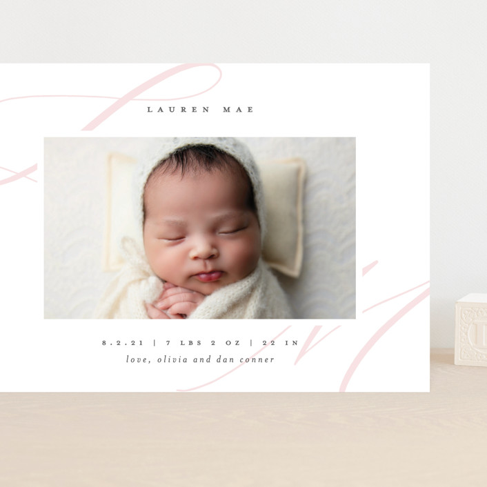 """""""Softest"""" - Grand Birth Announcements in Blush by Lauren Chism."""