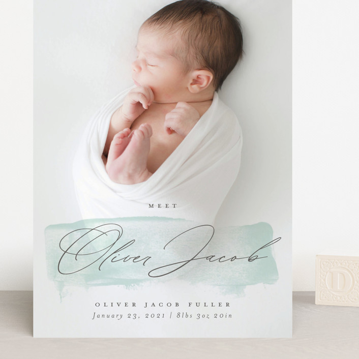 """Fresh Paint"" - Grand Birth Announcements in Aqua by Michelle Taylor."