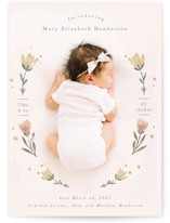 This is a pink grand birth announcement by Hannah Williams called Flower Child with standard printing on signature in grand.