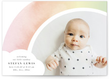 This is a pink grand birth announcement by Lori Wemple called Pretty Rainbow with standard printing on signature in grand.