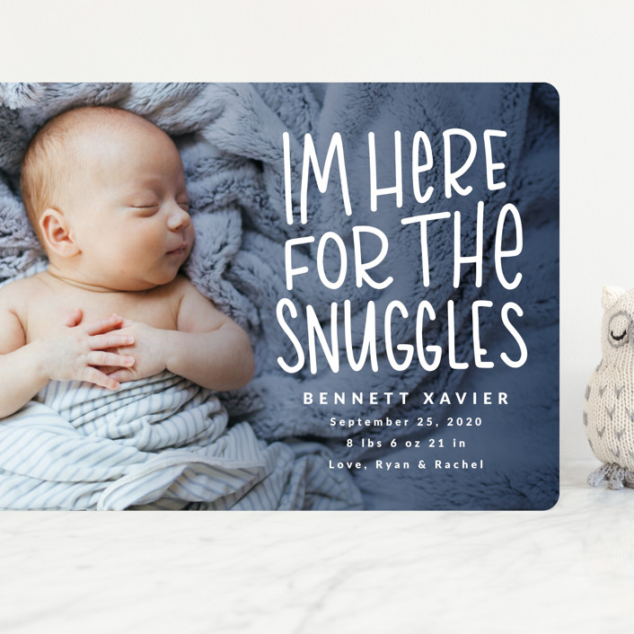 """Snuggles"" - Funny Grand Birth Announcements in Dusty Blue by Mayflower Press."