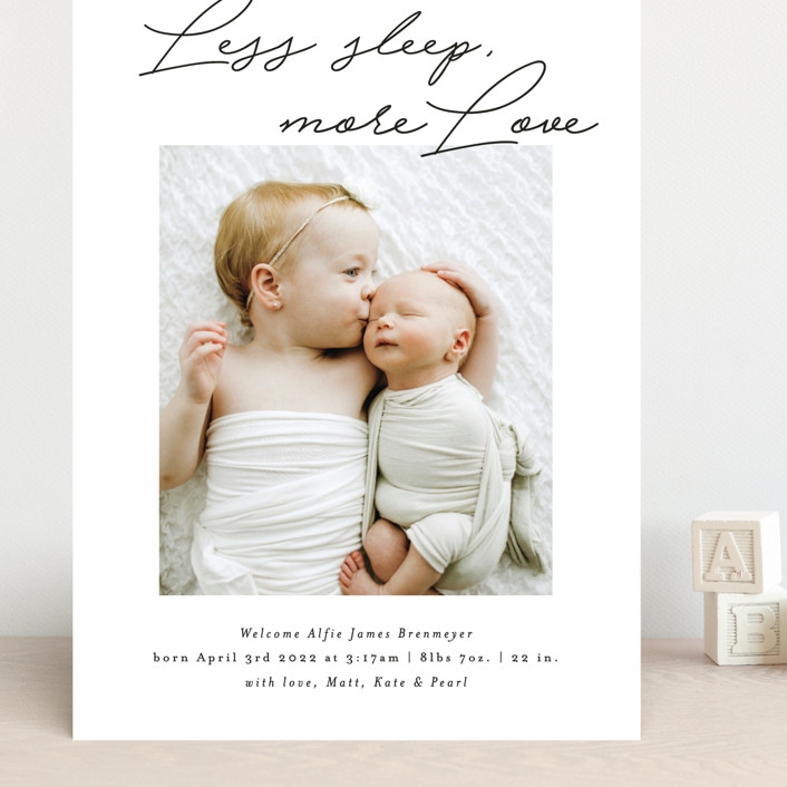 """""""Less Sleep, More Love"""" - Funny Grand Birth Announcements in Imperial by Itsy Belle Studio."""