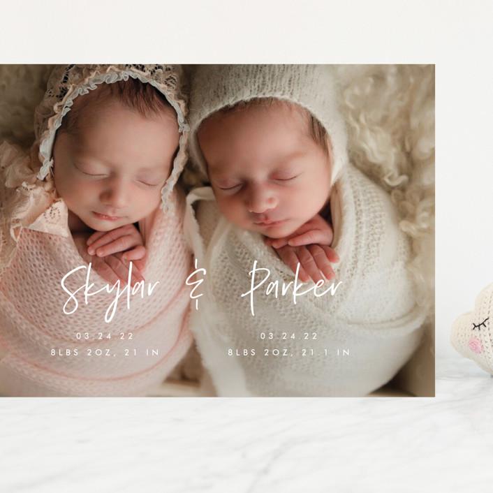 """Twin Names"" - Modern Grand Birth Announcements in Bubblegum by Vera Lim."