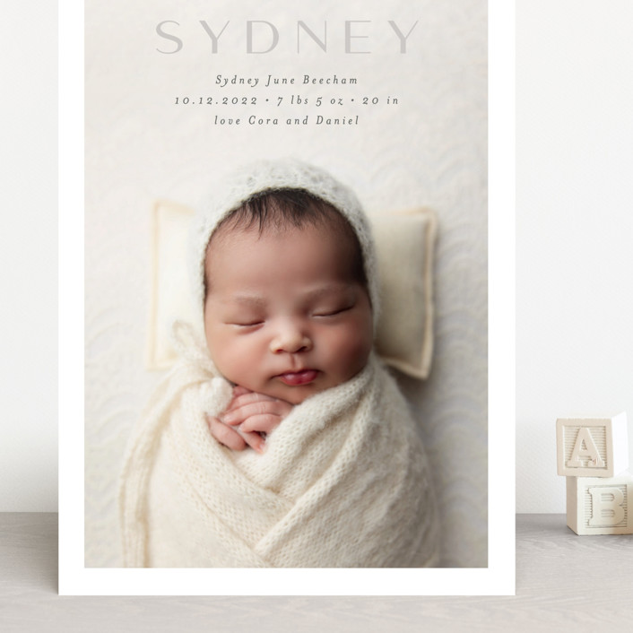 """serene debut"" - Grand Birth Announcements in Cloud by Rebecca Durflinger."