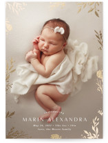 This is a brown grand birth announcement by Kate Ahn called sparkling florals with foil-pressed printing on smooth signature in grand.