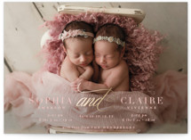 This is a pink grand birth announcement by Emily Betts called Gilded And with foil-pressed printing on smooth signature in grand.