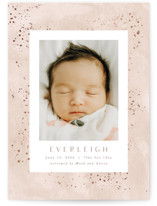 This is a pink grand birth announcement by Hooray Creative called Sweet Everleigh with foil-pressed printing on signature in grand.