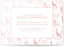 This is a pink foil pressed baby shower invitation by Waldo Press called Animal Parade with gloss-press printing on signature in standard.