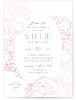 This is a pink foil pressed baby shower invitation by Nicoletta Savod called Timeless with gloss-press printing on signature in standard.