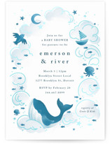 This is a blue foil pressed baby shower invitation by Snow and Ivy called Sea Adventure with gloss-press printing on pearlescent in standard.