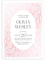 This is a black foil pressed baby shower invitation by Genna Blackburn called Botanical Frame with gloss-press printing on signature in standard.