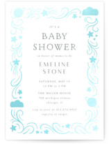 This is a grey foil pressed baby shower invitation by Lehan Veenker called Cloud Cover with gloss-press printing on signature in standard.