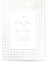 This is a white foil pressed baby shower invitation by Tamara Hilje called Boho Frame with gloss-press printing on signature in standard.