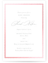 This is a white foil pressed baby shower invitation by Emily Betts called Scallop Border with gloss-press printing on signature in standard.