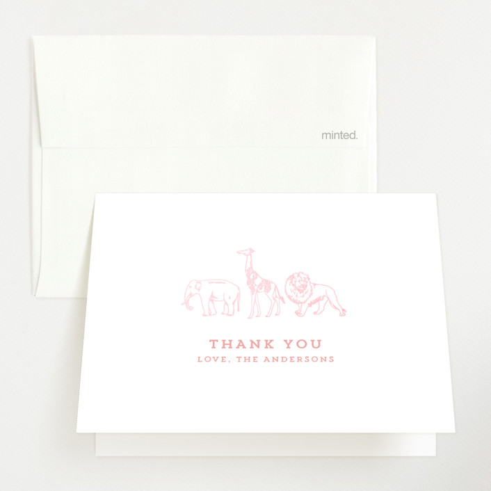 """""""Animal Parade"""" - Whimsical & Funny Gloss-press® Baby Shower Thank You Cards in Sunrise by Waldo Press."""