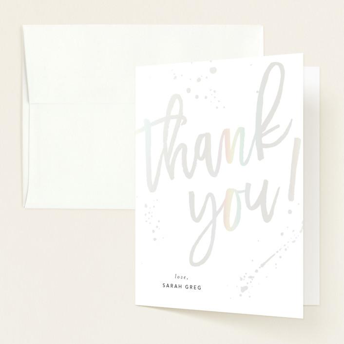 """Modern Take"" - Modern Gloss-press® Baby Shower Thank You Cards in Cornflower by Ashley Rosenbaum."