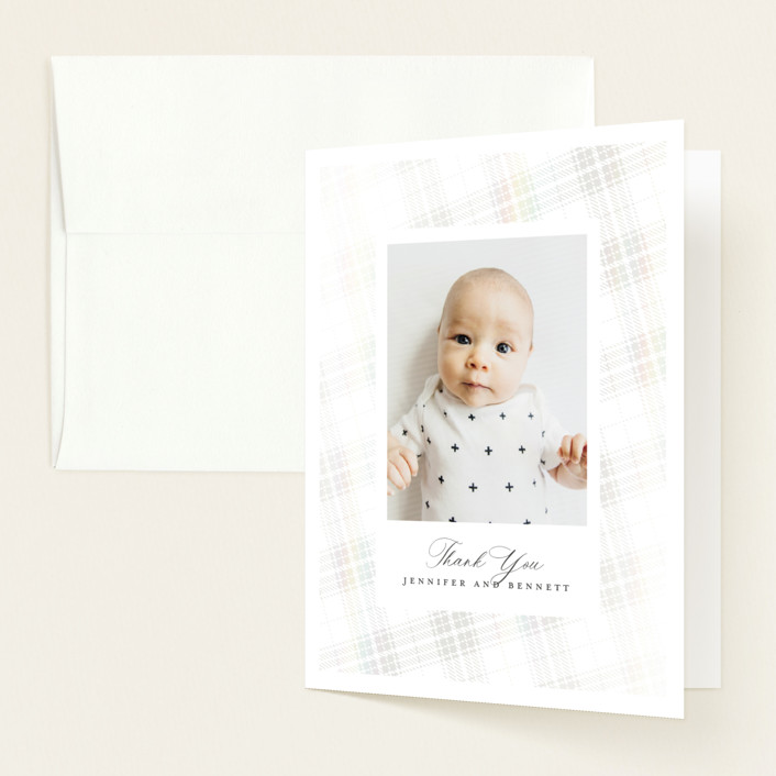 """""""Plaid"""" - Whimsical & Funny Gloss-press® Baby Shower Thank You Cards in Milk by Erin Deegan."""