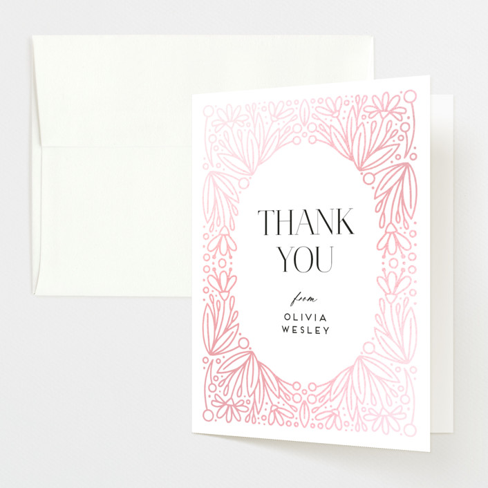 """""""Botanical Frame"""" - Gloss-press® Baby Shower Thank You Cards in Onyx by Genna Blackburn."""