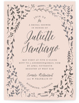 This is a pink bridal shower invitation by carly reed walker called Garden Romance with foil-pressed printing on signature in standard.