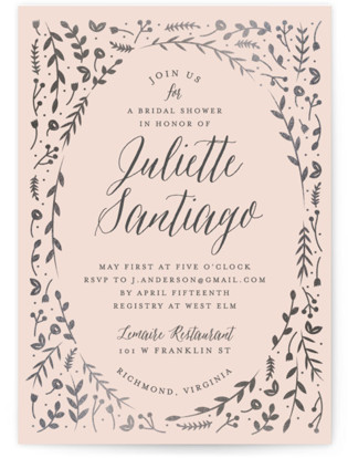 Garden Romance Foil-Pressed Bridal Shower Invitations