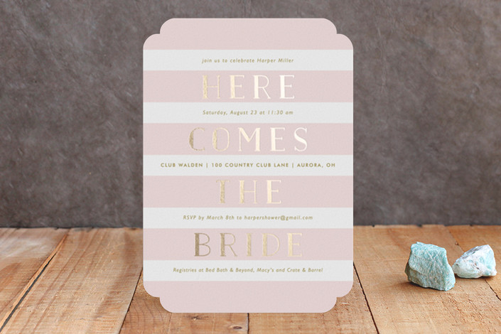 """Here She Comes"" - Bold typographic Foil-pressed Bridal Shower Invitations in Blush by Lauren Chism."