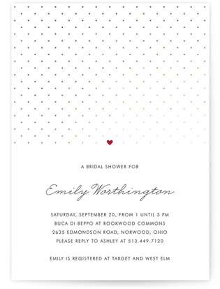 Polka Dot Foil-Pressed Bridal Shower Invitations