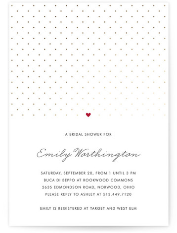 This is a portrait modern, simple, red, gold Bridal Shower Invitations by Kim Dietrich Elam called Polka Dot with Foil Pressed printing on Signature in Classic Flat Card format.
