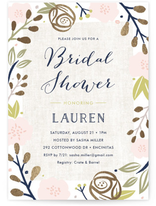 Spring Shower Foil-Pressed Bridal Shower Invitations
