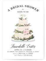 This is a gold bridal shower invitation by Joanna Griffin called Rustic Cake with foil-pressed printing on signature in standard.
