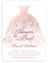 This is a pink bridal shower invitation by Paper Sun Studio called floral spray with foil-pressed printing on signature in standard.