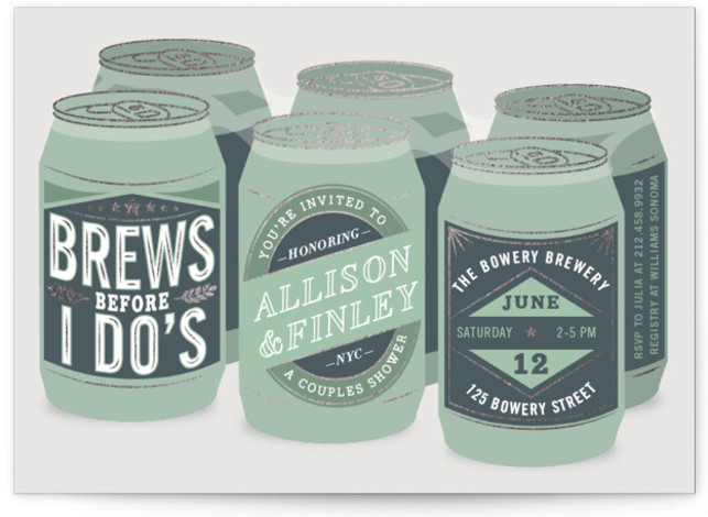This is a green Bridal Shower Invitations by Jennifer Lew called Brewery with Foil Pressed printing on Signature in Classic Flat Card format. A couples bridal shower featuring a 6 pack of beer.