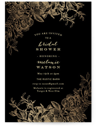 Engraved Flowers Foil-Pressed Bridal Shower Invitations