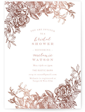 This is a portrait botanical, rosegold Bridal Shower Invitations by Phrosne Ras called Engraved Flowers with Foil Pressed printing on Signature in Classic Flat Card format. Add a touch of shine to your shower with our unique foil pressed invitations. ...