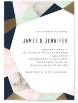 This is a blue bridal shower invitation by Petra Kern called Geo Elegance with foil-pressed printing on signature in standard.
