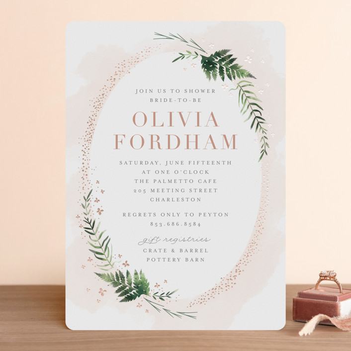 """Sparkling Ferns"" - Foil-pressed Bridal Shower Invitations in Candy by Kristie Kern."