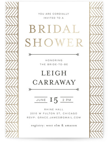 This is a brown Bridal Shower Invitations by Melanie Kosuge called Chevron with Foil Pressed printing on Signature in Classic Flat Card format. A modern bridal shower invitation featuring hand drawn geometric illustration and pattern design